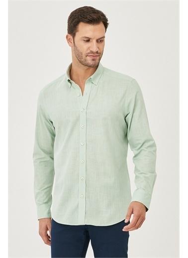 AC&Co / Altınyıldız Classics Tailored Slim Fit Dar Kesim Düğmeli Yaka %100 Koton Gömlek 4A2021200056 Yeşil